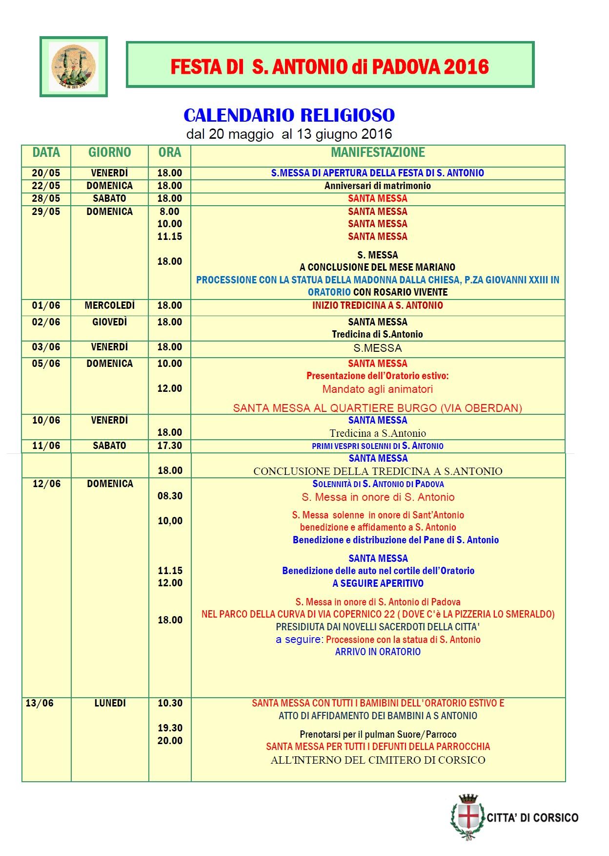 Calendario Religioso.Festa Di S Antonio Citta Di Corsico